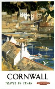 Cornwall Harbour. Vintage British Railway Travel poster by Frank A A Wootton